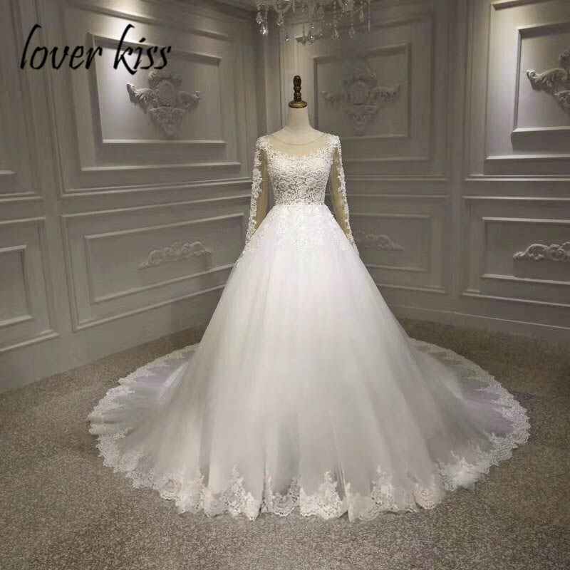 Lover Kiss Vestido De Noiva 2019 Real Photos Rustic Long Sleeve Wedding Dress Lace Pearls Bride