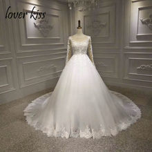 Lover Kiss Vestido De Noiva 2019 Real Photos Illusion Long Sleeve Wedding  Dress Lace Pearls Bride Gown Lace Up Back robe mariage bdaf97b8da8a