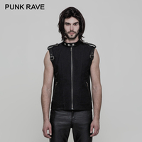 PUNK RAVE Punk Rock Sleeveless Sweatshirt Zipped Gilet Waistcoat Inelastic Woven Fabric PU Belt Cuff Tank Tops Stand Collar Vest