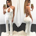 2017 New Women summer style Sexy jumpsuit Sling DeepV Hollow bandage bodycon jumpsuit playsuits pants long jumpsuits macacao