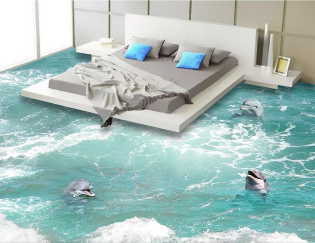 Aliexpress.com : Buy Beach floor murals in wall stickers dolphin ...