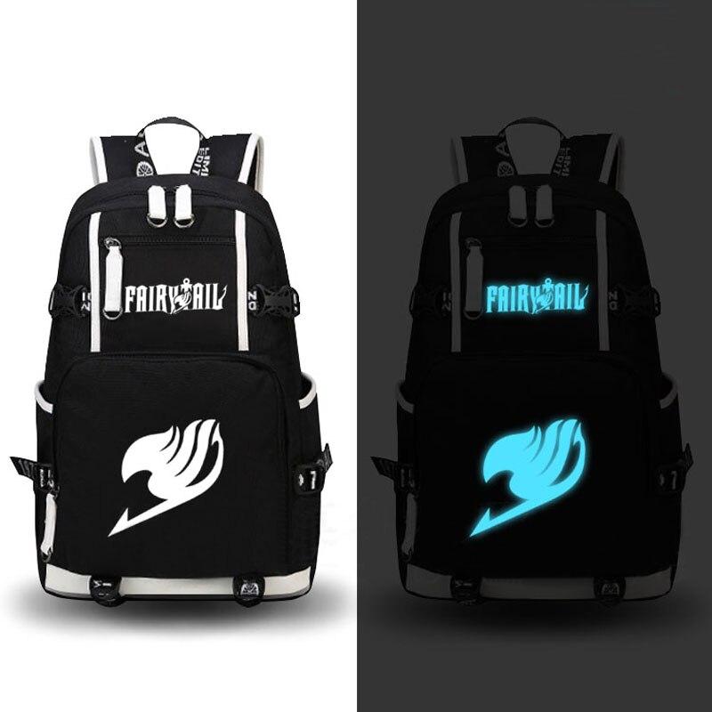 ФОТО High Quality Hot Anime FAIRY TAIL Natsu Luminous Printing Military Backpack School Backpacks for Teenage Girls Canvas Bags