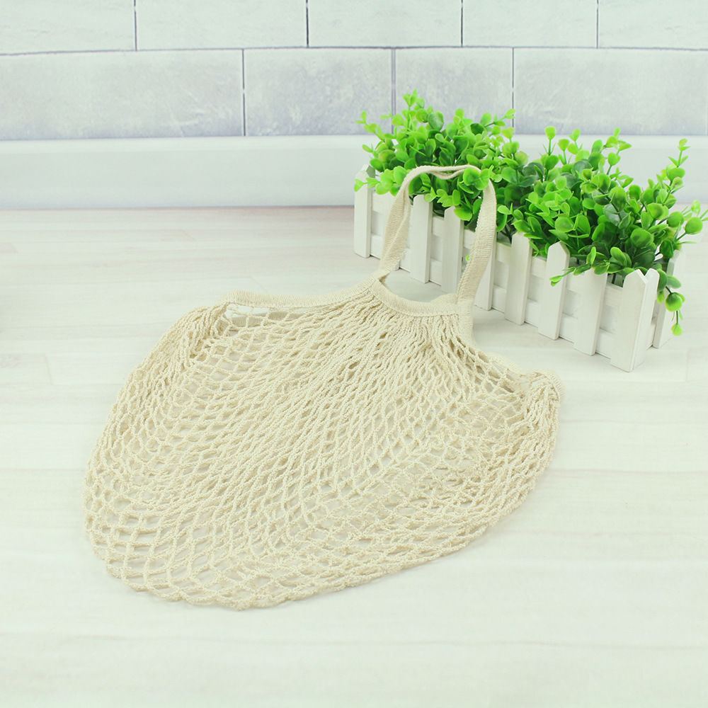 Лимит 100 многоразовый фруктовый шоппинг струна продуктовый шоппер хлопок тоут сетка тканая сетка мешок P - Цвет: Белый