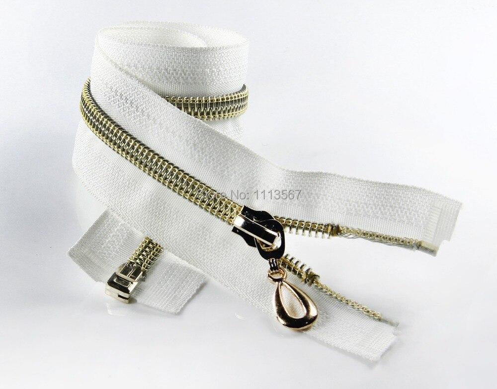 50 pcs 도매 나일론 오픈 엔드 금속 지퍼 골드 지퍼 Pullers 바느질 60 cm Z50-에서지퍼부터 홈 & 가든 의  그룹 1