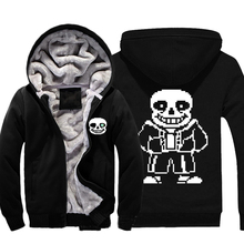 Mens Casual Game Undertale Sans Hoodies Black Cotton Zip Up Winter Fleece Super Warm Sweatshirts