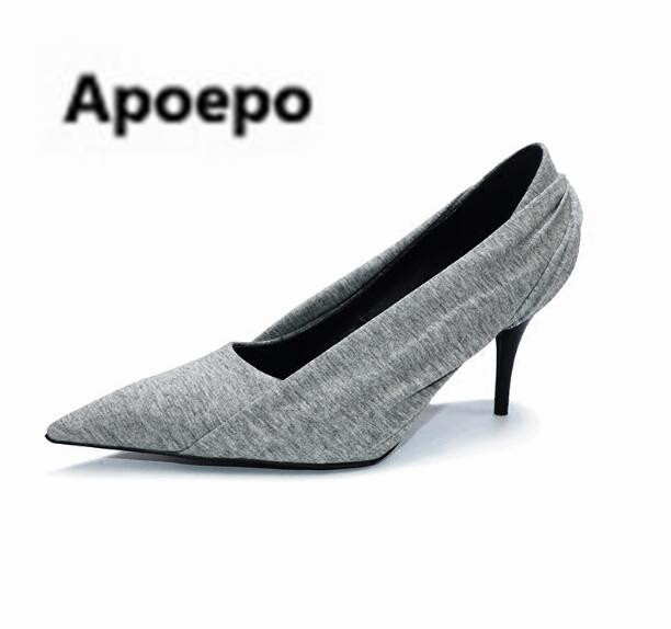 Apoepo 2018 zapatos mujer high quality pumps printing flower sexy pumps pointed toe high heels shoes women shallow wedding shoes 2018 new arrival women flats shoes shallow flat heel hollow out flower shape nude shoes pointed toe shoes zapatos mujer