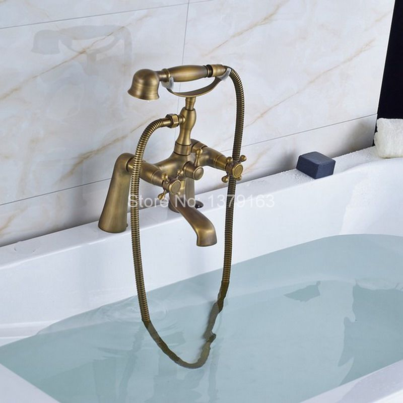 Retro Antique Brass Double Cross Handles Deck Mounted Bathroom Clawfoot Bathtub Tub Faucet Mixer Tap w/Hand Shower aan024 wholesale and retail promotion deck mounted chrome brass waterfall spout bathroom tub faucet w hand shower