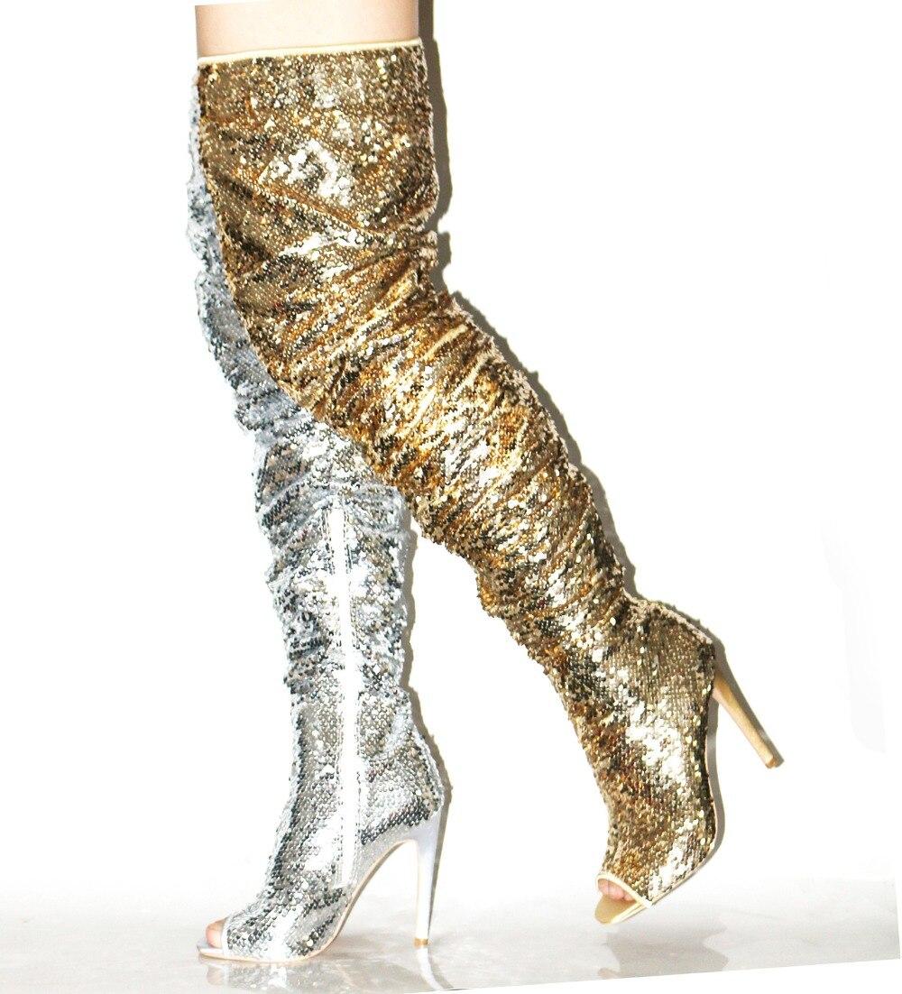 Сексуальная блестками Сапоги выше колена женская обувь с острым носком с боковой молнией Glatiator сандалии сапоги Slim Fit тонкий каблук шикарные ...