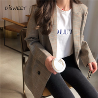Office Ladies Plaid Coat Women Loose Tops Double Breasted Jacket Female 2019 Casual Pockets Female Suits Coat