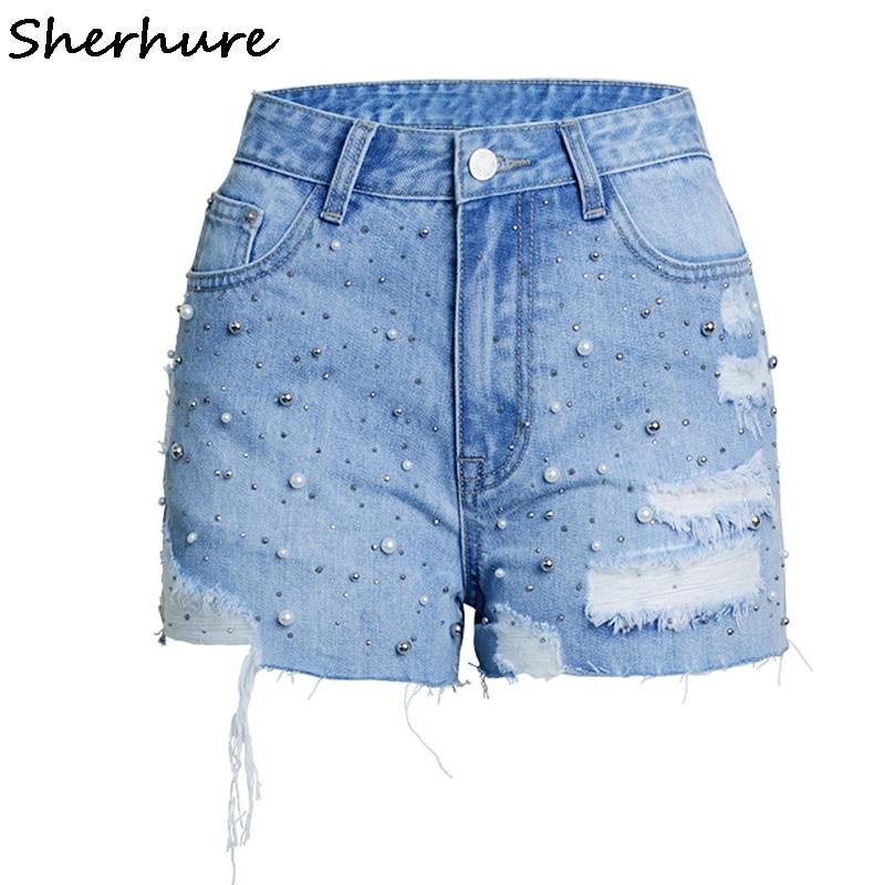 Sherhure 2018 Pearl Beading Women Cotton Denim Shorts Sexy Ripped Blue Plus Size Women Shorts Female High Waist 3XL Hot Shorts