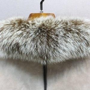 Image 2 - 100% hakiki koyun derisi deri kürk ceket tilki kürk yaka ince stilleri moda kadın sonbahar cilt ve kuzu koyun kürk ceket