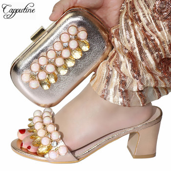 Capputine  2019 New African Ladies Shoes And Matching Bag Set Italian Party High Heels Shoes And Bag Set For Wedding Dress
