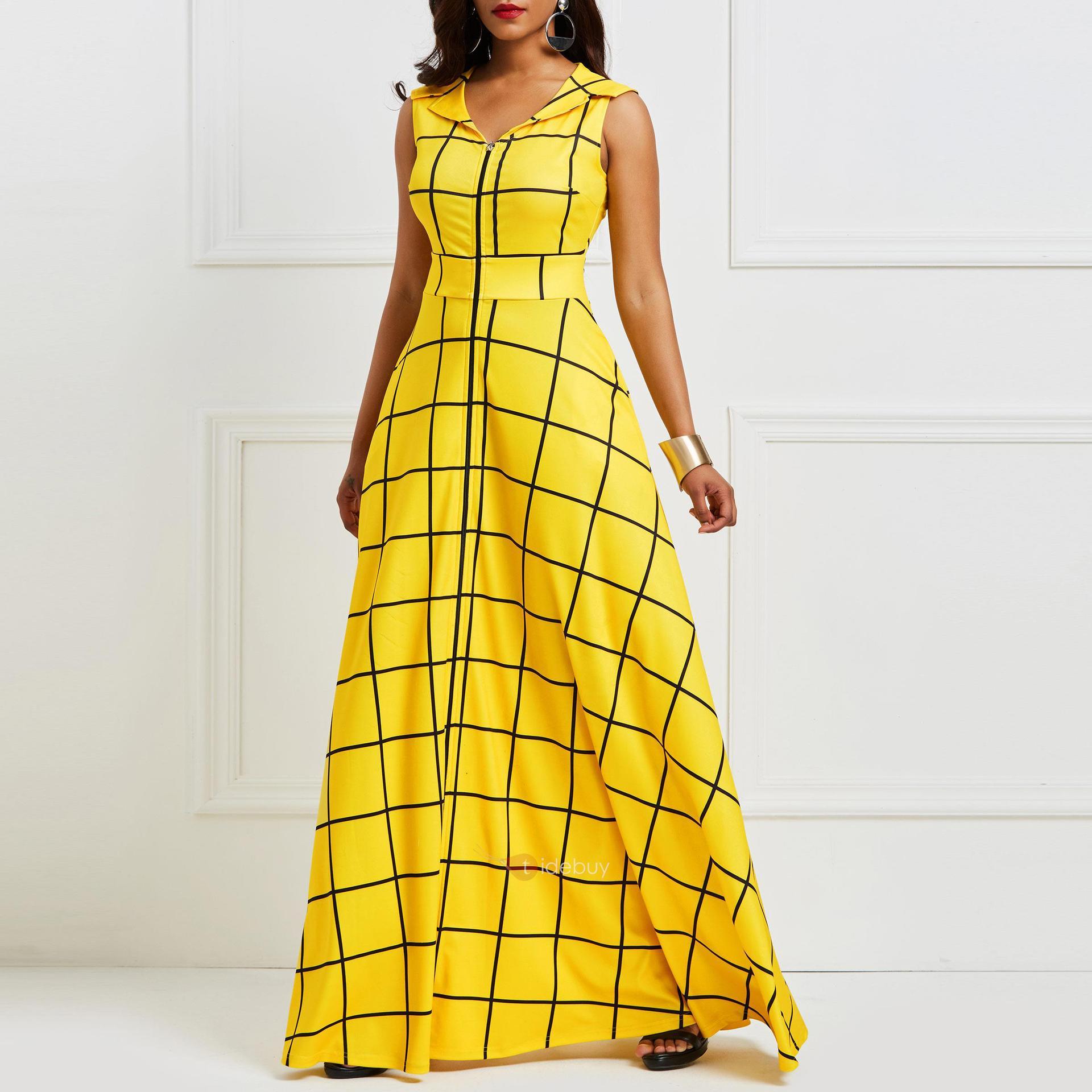 2019 robe d'été femmes sans manches plaid torsadé satin jaune robe de soirée élégante poche crantée revers bleu robe longue