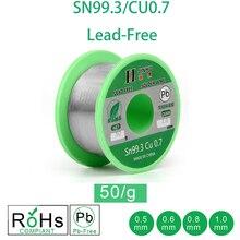 50 г бессвинцовый припой проволока 0,5-1,0 мм неэтилированный свинец канифоль ядро для электрического припоя RoHs
