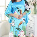 New Arrival Light Blue Female Silk Rayon Nightwear Summer Lounge Robe Dress Home Wear Kimono Bath Gown Flower One Size