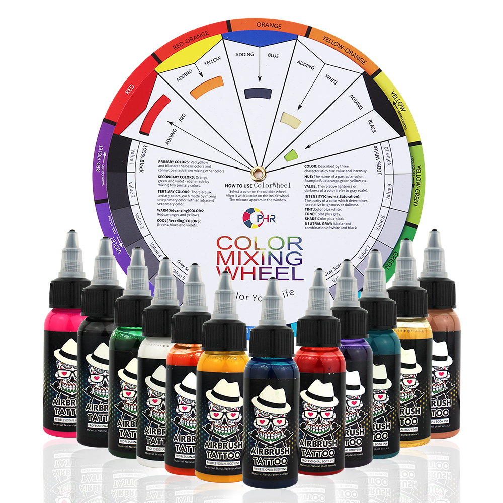 OPHIR 12 couleurs Airbrush encres de tatouage avec roue de couleur 30 ML/bouteille corps Art peinture couleurs pour tatouage temporaire Pigment_TA053 + AC128
