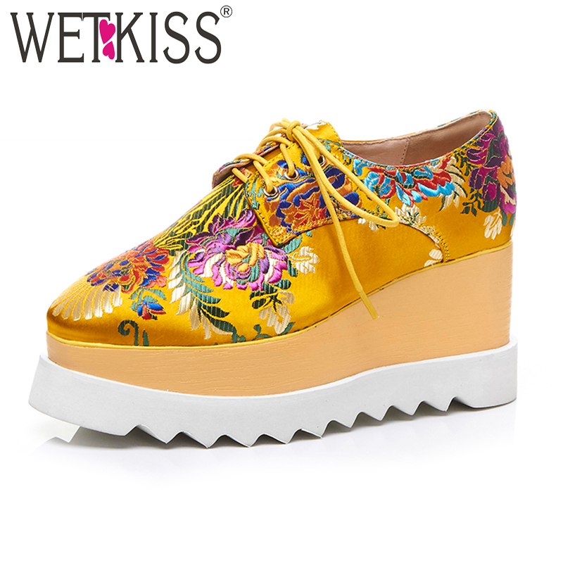 WETKISS New Arrival Platform Shoes Spring Women Shoes Wedges Women Pumps Silk Square Toe Lace Up Fashion Casual Shoes Size 33-42 europe america fashion star cutout lace up high heel shoes for women square toe platform wedges brogue oxford casual shoes us 10
