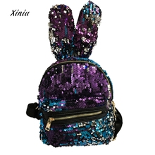 Mode Frauen Mädchen Pailletten Rucksack Kaninchen Ohr Design Frauen Freizeit Schultaschen Reise Reißverschluss Pack Rucksäcke mochila feminina