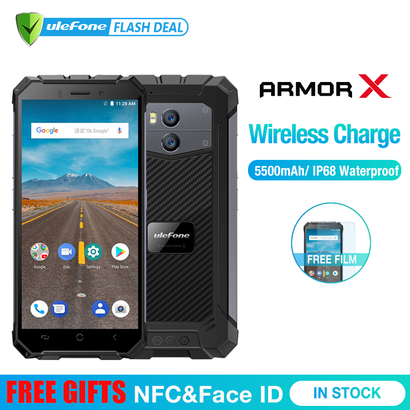 Ulefone Armor X Waterproof IP68 Smartphone 5.5 HD Quad Core Android 8.1 2GB+16GB 13MP NFC Face ID 5500mAh Wireless Charge Phone