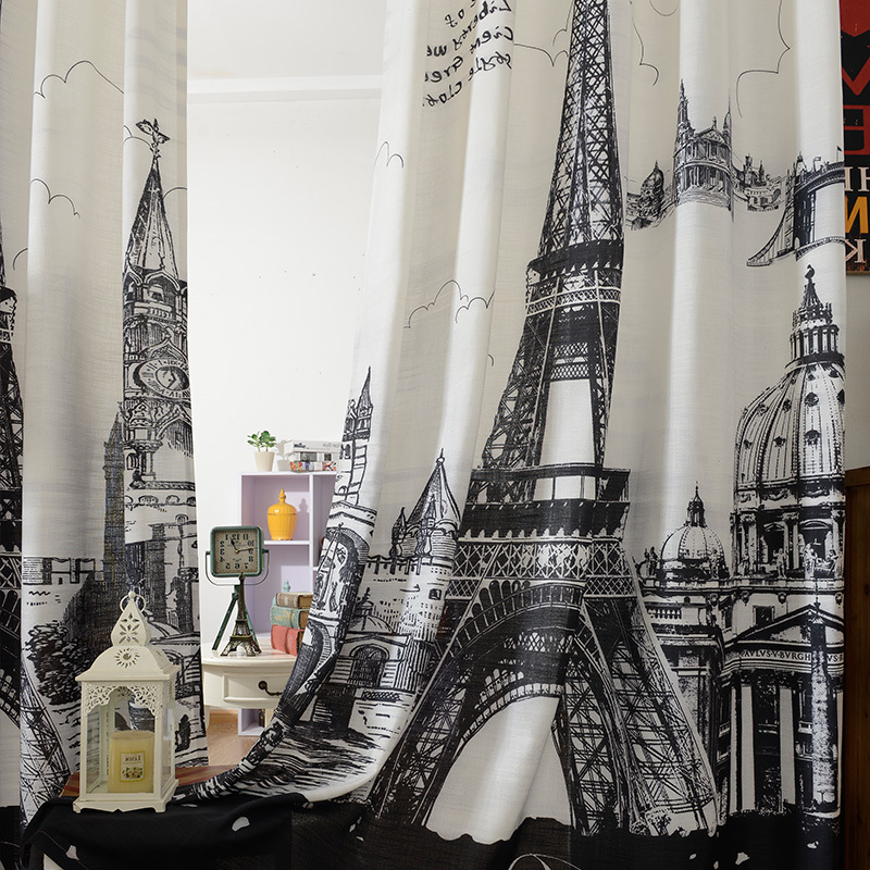 3d Black And White Paris Living Room Curtains Blackout Curtains M Free  Shipping