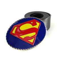 Mens Big Buckle Belts Clothing Accessories With DC Superhero Superman Belt Buckle Metal Black Faux Leather