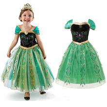 Girls Princess Anna Dress Cosplay Anna Elsa Costume Coronation Gown Girl Sleeveless Print Clothes Child Kids Party Summer Dress