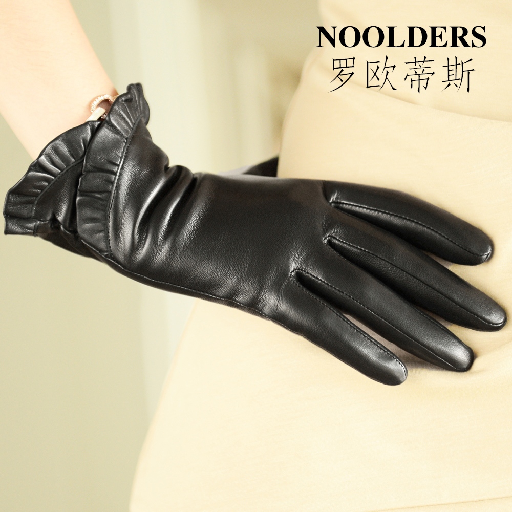woman leather gloves female thickening short design genuine women thermal fleece sheepskin - Better PPE Products Co.,Limited store