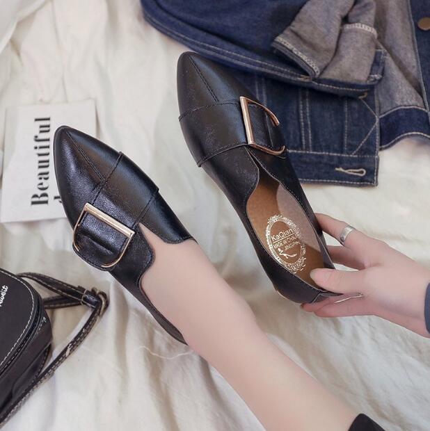 Coréenne Bas Pointu Boucle Plates a1 Printemps Ceinture Tempérament Chaussures Simples Élégant Y144 a2 Femme Simple A3 Femmes Talon XXpqPO
