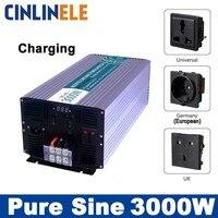 Смарт инверторы зарядки 3000 Вт чистая синусоида инверторы CLP3000A DC 12 В 24 В 48 В к AC 110 В 220 В 3000 Вт Мощность инверторы
