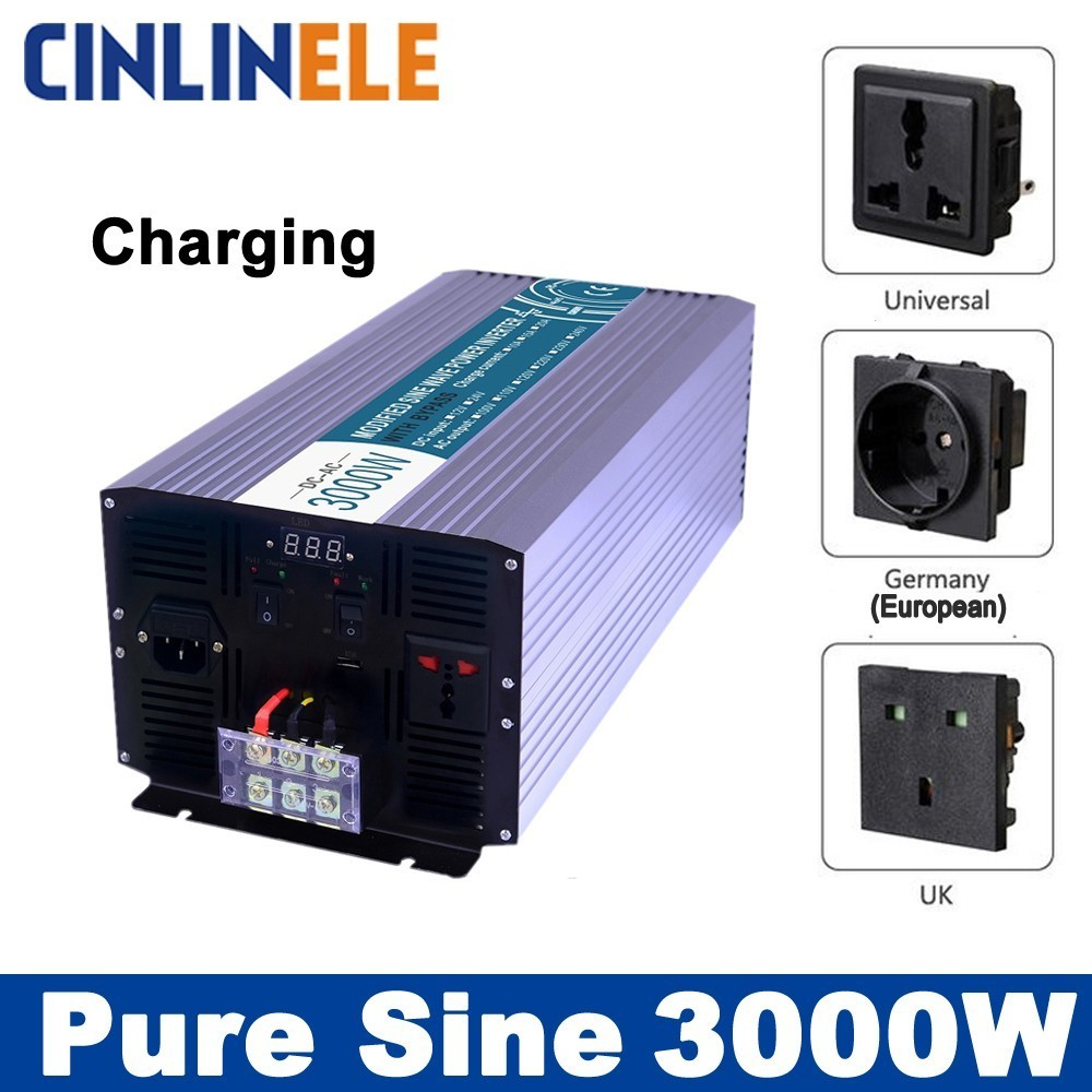 цена на Smart Inverters Charging 3000W Pure Sine Wave Inverters CLP3000A DC 12V 24V 48V to AC 110V 220V 3000w Power Inverters