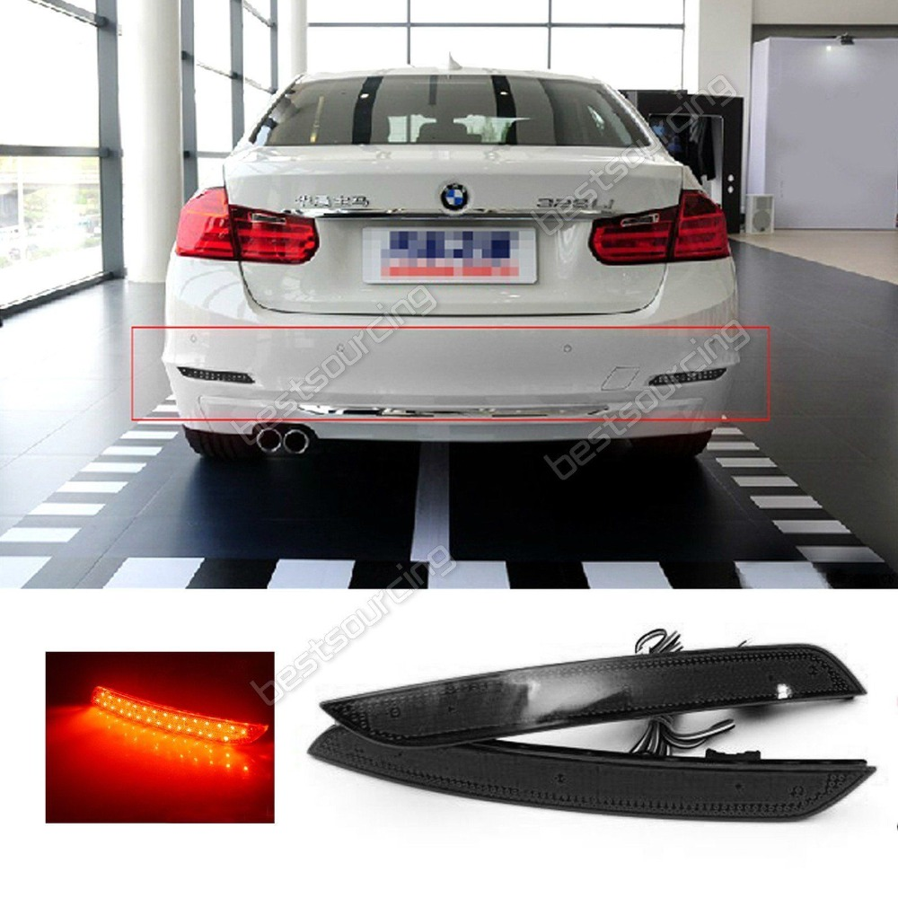 For BMW Black Lens LED Rear Bumper Reflector Brake Stop Light 5 Series F10 F11 F18 528i, 535i, 550i 2011-14 new auto parts for bmw 5 series x3 f10 f18 stop switch handbrake switch automatic start and stop parking brake