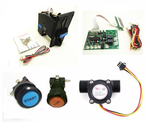 1 kit for water vending machine volume control with JY926 multi coin acceptor button start and pause acceptor multi coins