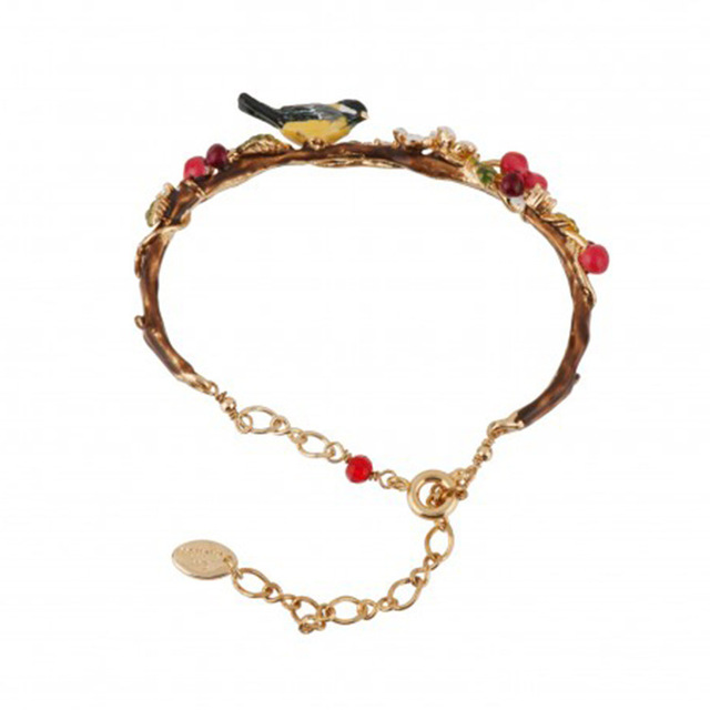 New Arrivals Be Listed Hand Enamel Glaze Oriole Bird Cherry Garden Bracelet Hand Decorate Gold-plated No Fade Woman