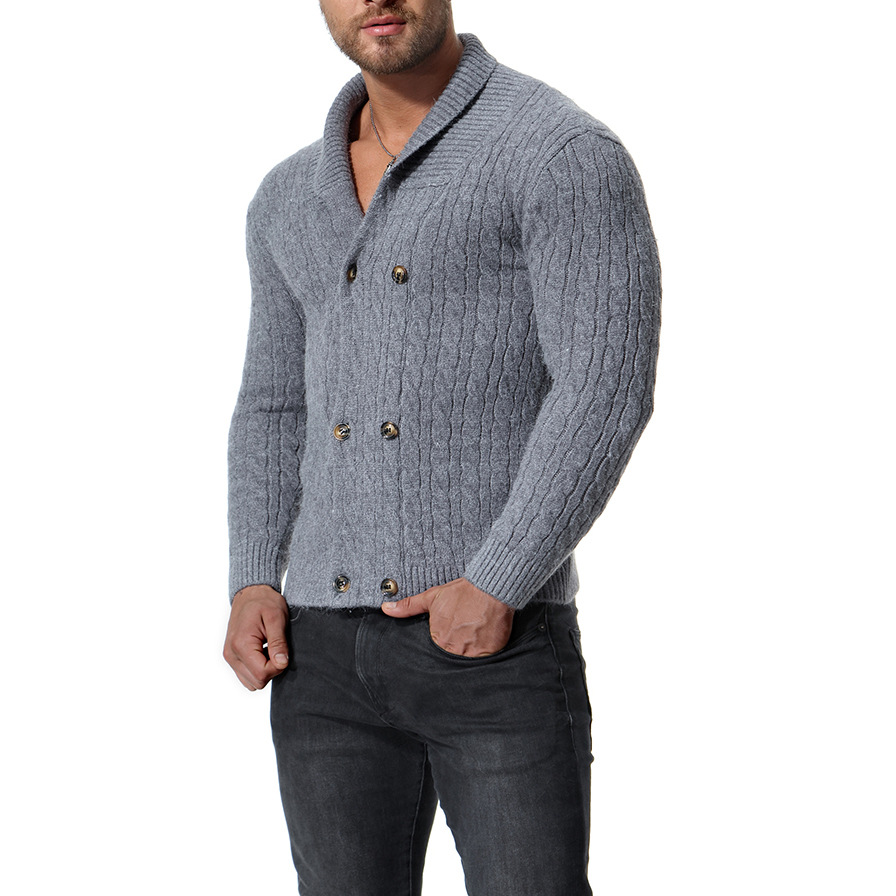 MarKyi 2018 autumn double breasted wool sweater men good quality cardigan christmas sweater slim fit