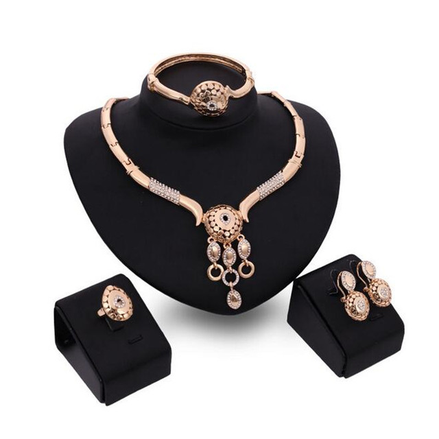 Gold Plated Fine Jewelry Set For Women Beads Collar Necklace Earring Bracelet Ring Sets Costume Latest Fashion Accessories S0119
