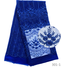 High Quality Royal Blue Nigerian Mesh Lace Fabrics 2019 African French  Fabric With Beads Embroidered Dress 301