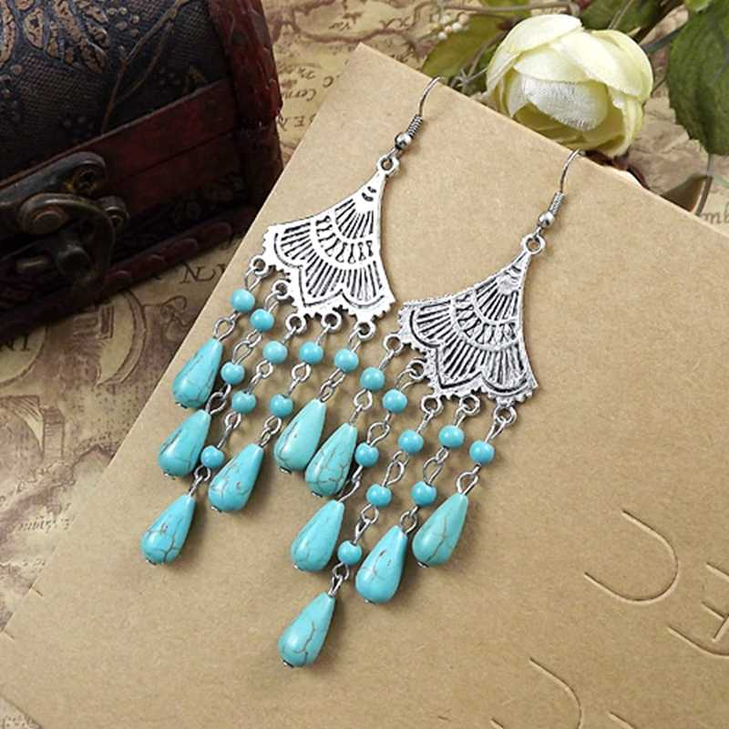 Fashion Women Jewelry Wholesale Vintage Tibetan Silver Long Section Round Beads Individuality Tassel Women Dangler Earring E3320