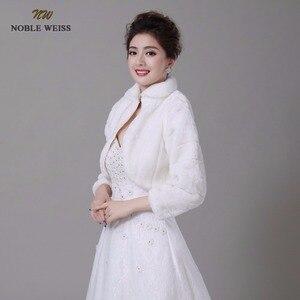 Image 3 - NOBLE WEISS Discount long sleeve wedding jacket Bride cape winter bride fur shawl bolero women wedding coat ivory color 0847