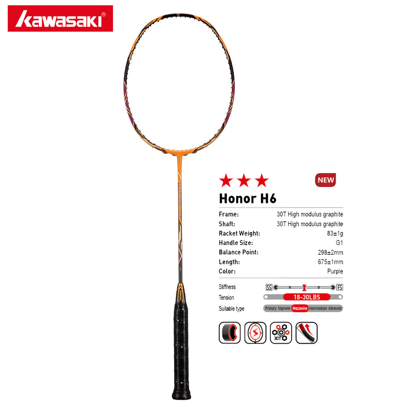 Kawasaki 4U Attack Type Badminton Rackets HONOR H6 30T Carbon Fiber Box Frame Racquet For Amateur Intermediate Players