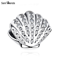 Authentic 100% 925 Sterling Silver Bead Charm Ocean Shell Crystal Beads Fit Original Bracelets & Bangles Women DIY Gift Jewelry