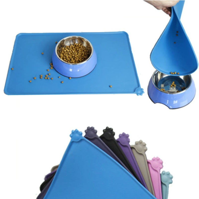 Useful Pet Supplies Puppy Dog Cat Feeding Cute Mat Cushion Bed Feeding Water Food Bowl Plate Silicone Tablecloth