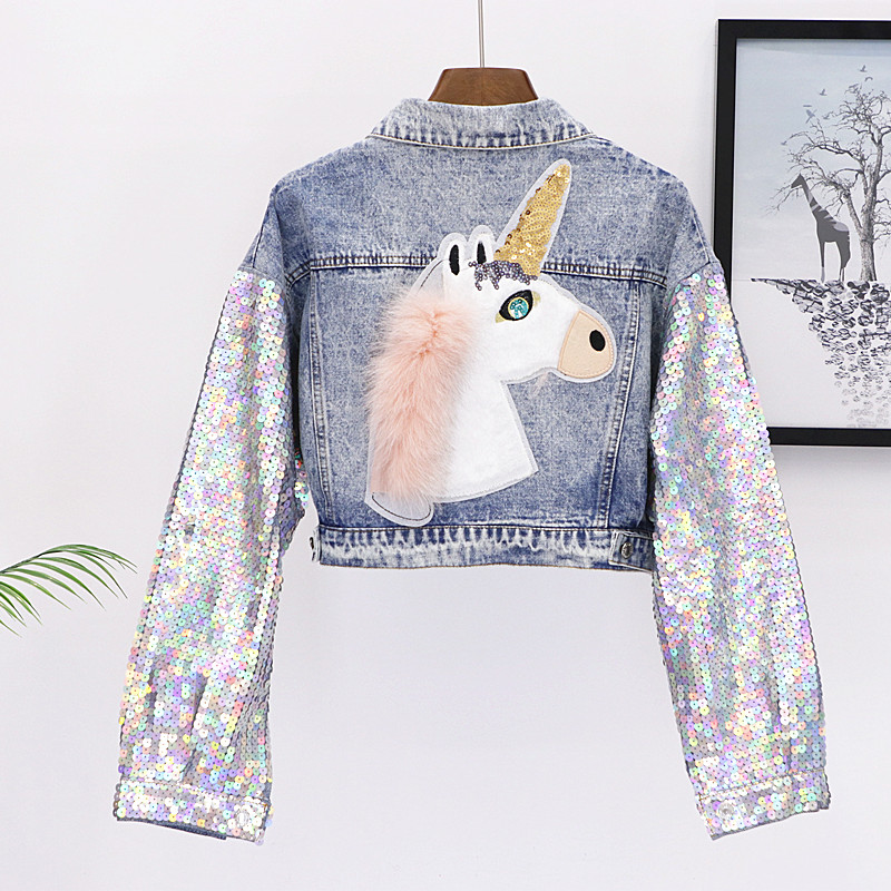 2018 Fashion Design Punk Style Women Autumn Jacket Coat Sequins Sleeve New Women Denim Long Jacket