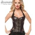 Arnês de couro tribunal resíduos trainer shaper overbust corselet mulheres sexy lingerie erótica top corpete corpete vestido com Bustier