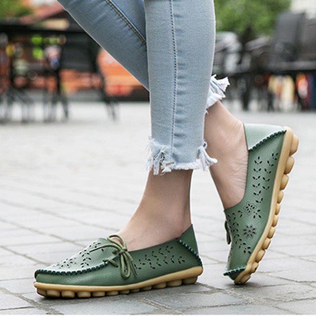 KUYUPP Large size44 leather shoes hollow Women flats Multicolor Mother shoes zapatos mujer lace-up girl shoes espadrilles YDT679