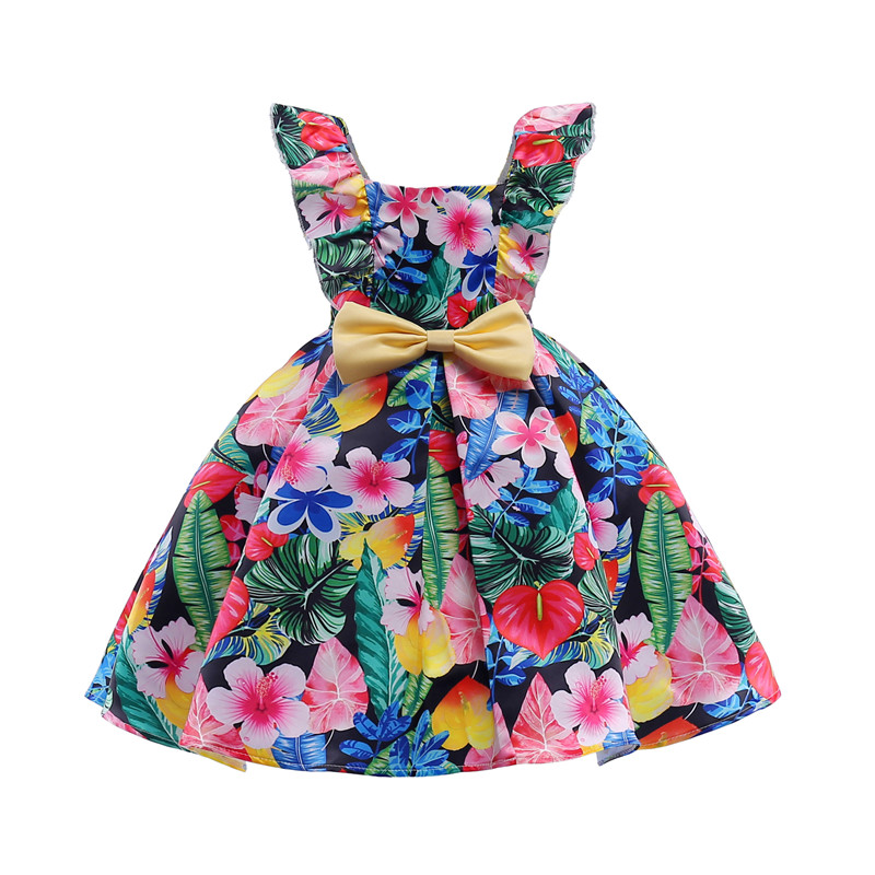 Summer New European and American Girls Strap Dresses Pattern Printed Middle&Big Kids Dresses for Girl Yellow Bow DressSummer New European and American Girls Strap Dresses Pattern Printed Middle&Big Kids Dresses for Girl Yellow Bow Dress