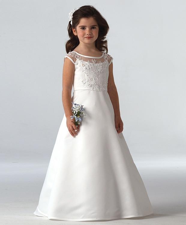 white 2017 A Line Hot Sale 2017 Elegant satin   Flower     Girl     Dresses   Appliques Long Princess Party Pageant first communion   dresses