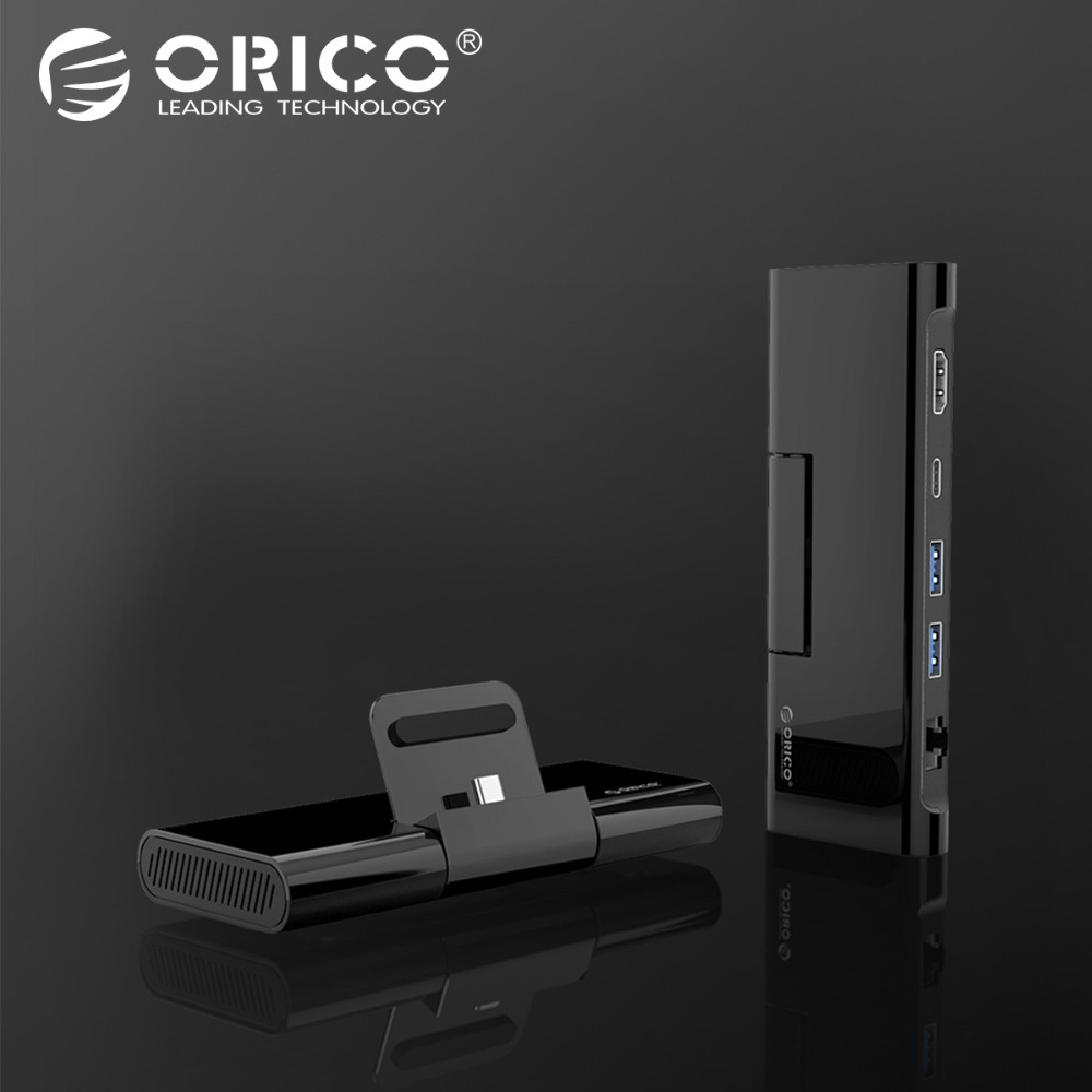 ORICO Type C Docking Station with Phone Stand Charger USB C to HDMI RJ45 USB3.0 HUB for MacBook Samsung HUAWEI Type C USB HUB 3 port usb type c charger 75w 5v 20v power delivery pd qc 4 charger station for new macbook dell samsung afc huawei fcp