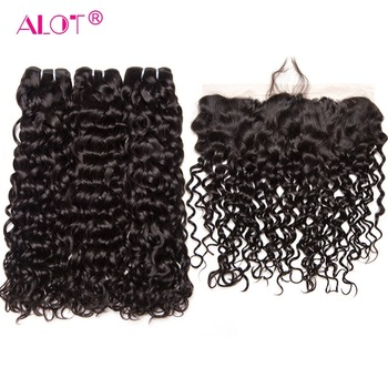 Alot Indian Water Wave Human Hair Bundles With Frontal Closure Non Remy Human Hair Weave Ear To Ear Lace Front With Bundles