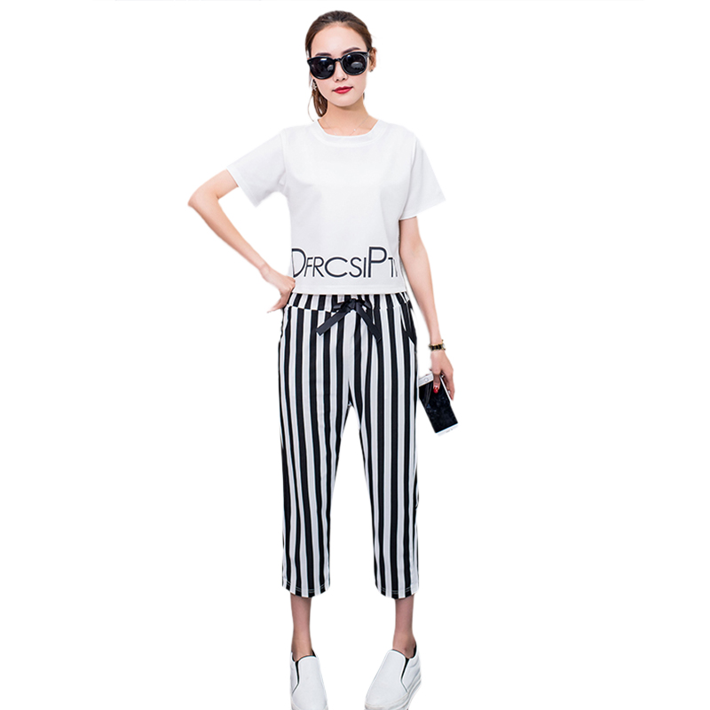 2018 New Fashion Two Piece Women Set White T Shirt+Striped Pants Loose Casual Short Sleevele Letter Printed Tees