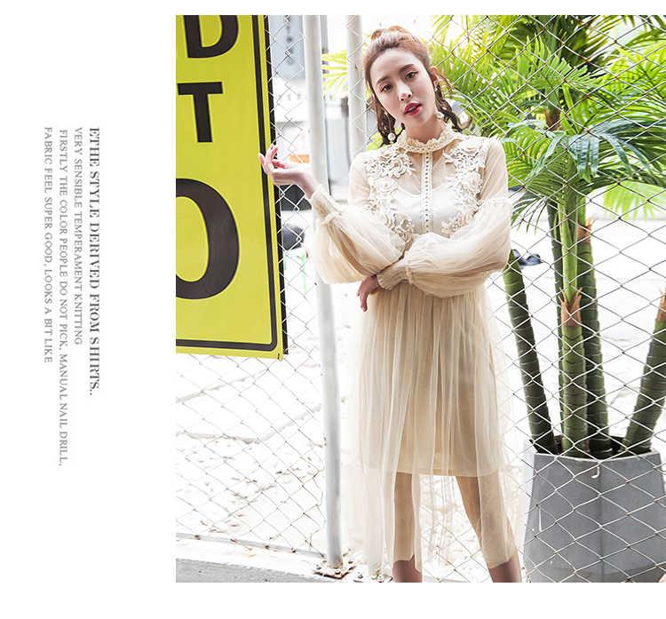 2019 Yeni Kadın Moda Elbise Standı Yaka Fener Kollu örgü elbise See-through Dantel Nakış peri elbisesi Femme Vestidos Robe